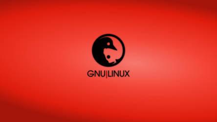 GNULinux YinYang Wallpaper   Vermilion
