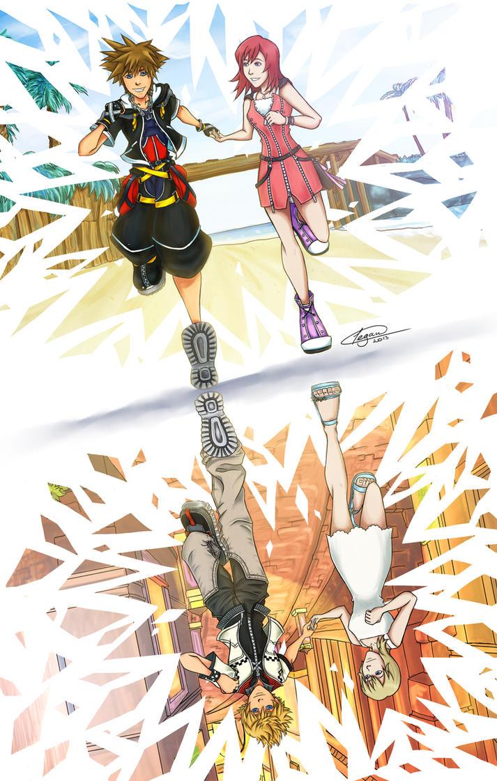 Kingdom Hearts Namine And Kairi Anime One Sky by crim...