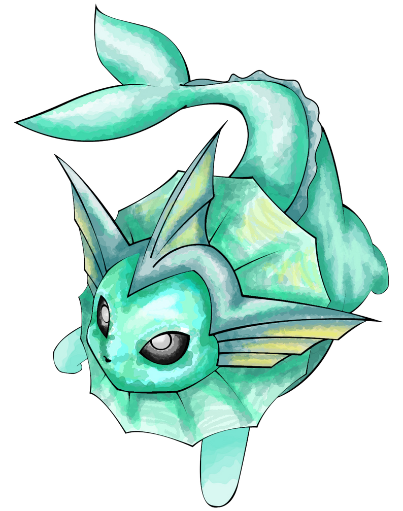 Vaporeon Line Art by FireStump