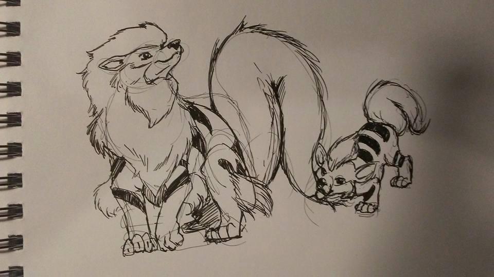 Pokemon Go Arcanine and Growlithe by LucasPuryear