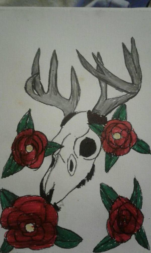 deer skull roses by zansuro