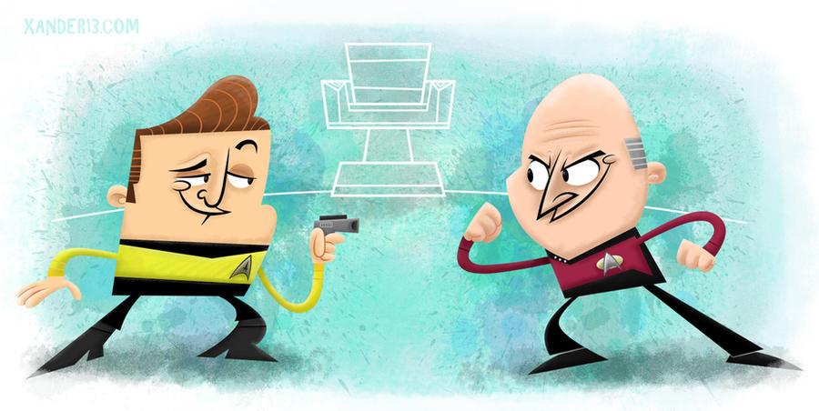 Kirk Vs Picard by xanderthurteen