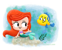 Ariel and Flounder by xanderthurteen