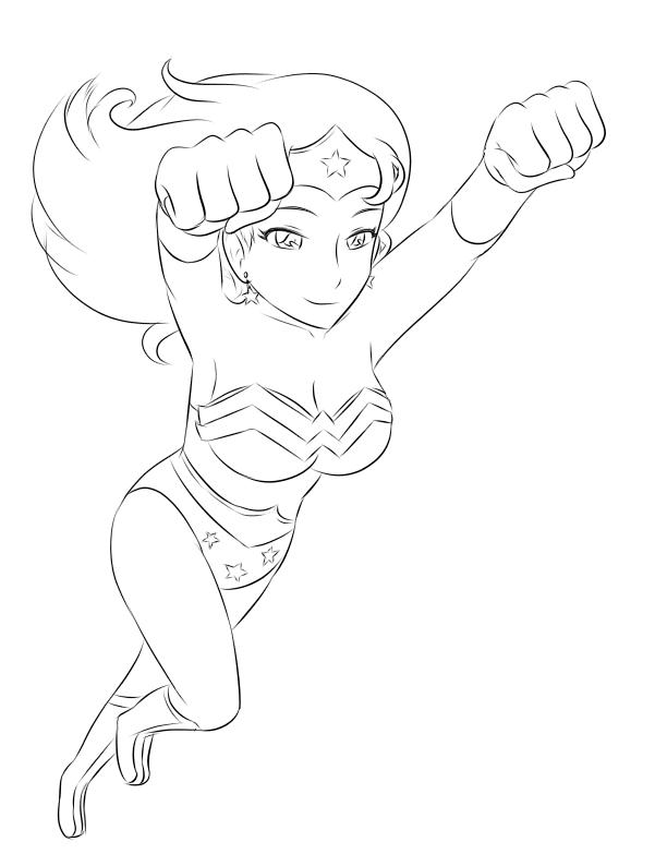 Line Art Woman : Wonderwoman lineart by whim doll on deviantart