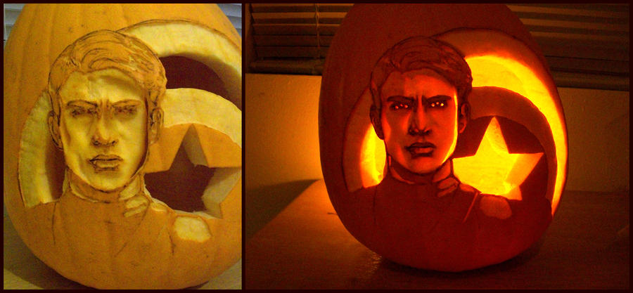 Captain America Pumpkin finished by Rider4Z