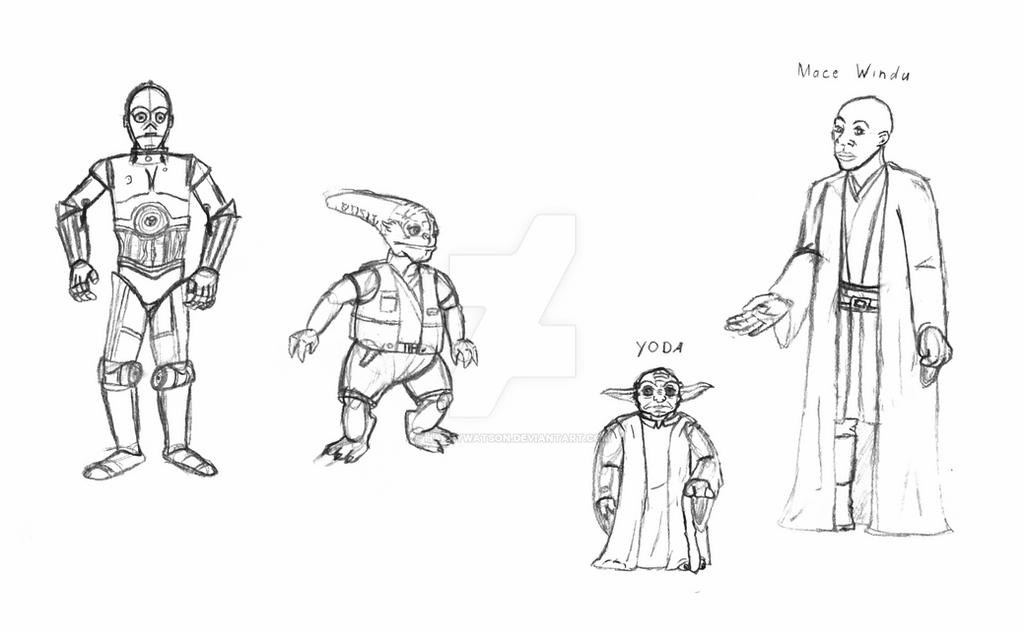 Star Wars Yoda and Mace Windu by HarryWatson