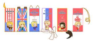 Hetalia Bookmarks by Mikochi