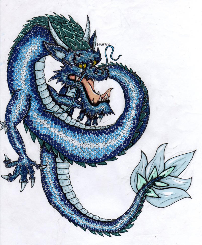 Subaqueous Dragon - shoulder tattoo