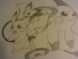 pichu pikachu raichu drawing by lossetta932