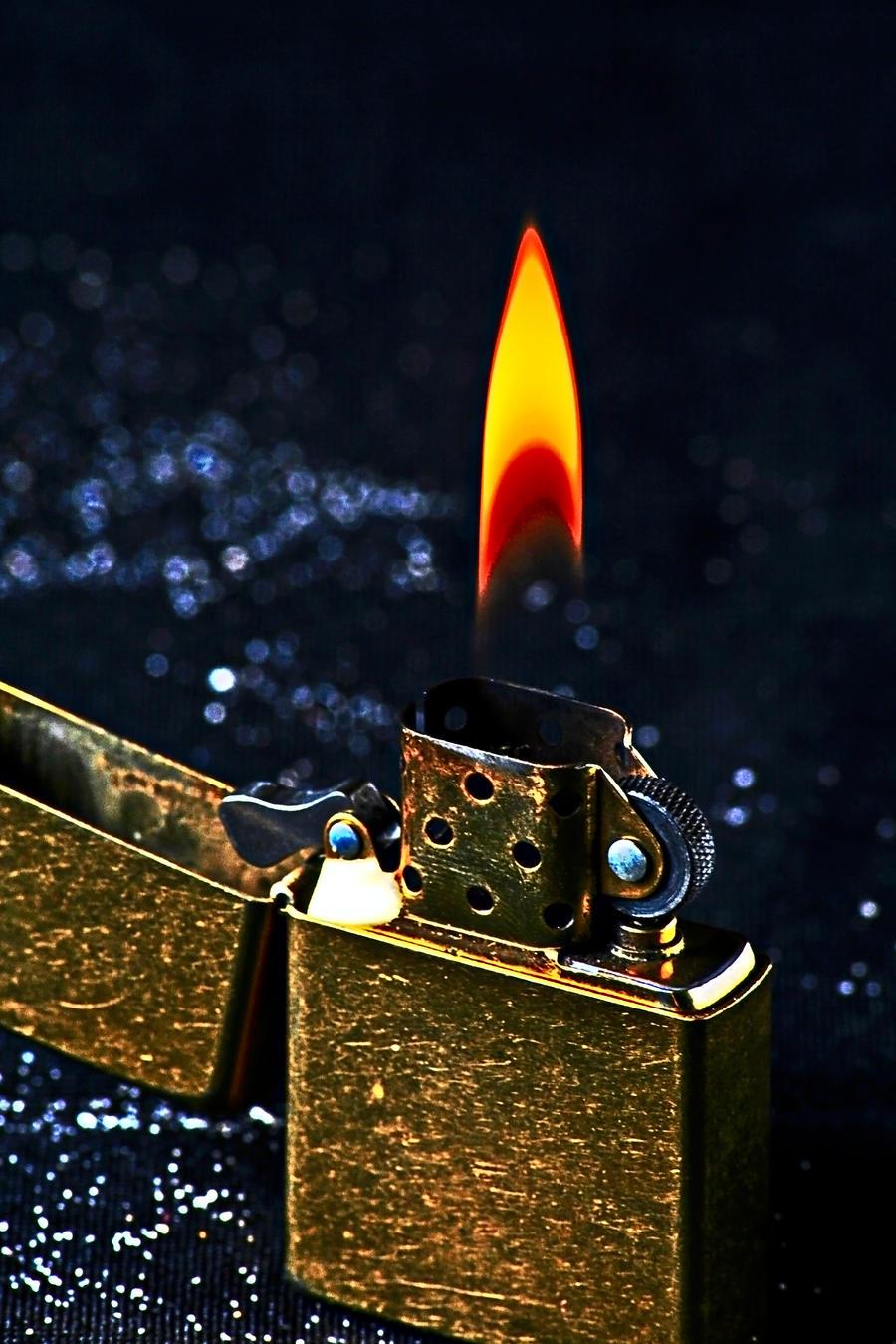 Zippo Lighters Flame Scratched Bronze Zippo...