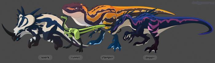 Dino crew by Dinkysaurus