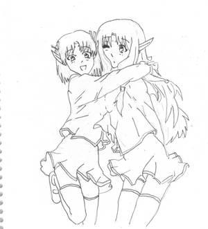 Elf school friends line art