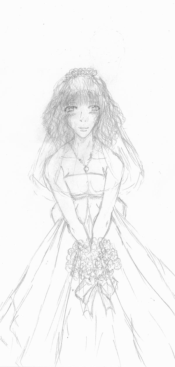 Amie's Wedding Dress line art