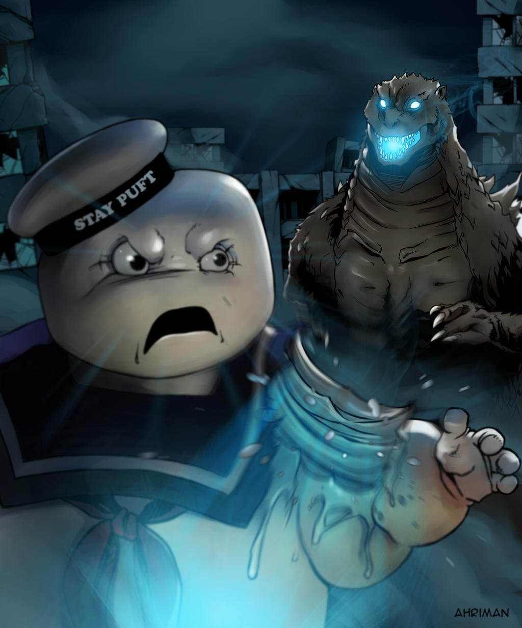 Godzilla vs Stay Puft by Ahrrr