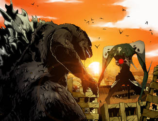 Godzilla vs Sachiel by Ahrrr