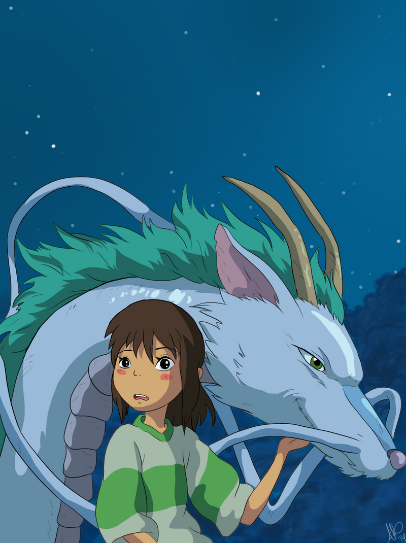 Spirited Away-Haku and Chihiro by ArtCoffeeLove on DeviantArt