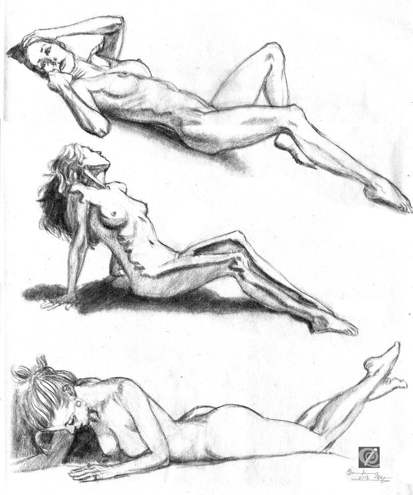 quick charcoal study girls lying by chclaudino