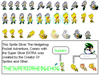 Sprites Silver The Hedgehog Pocket Adventure by CidrosHedgehog