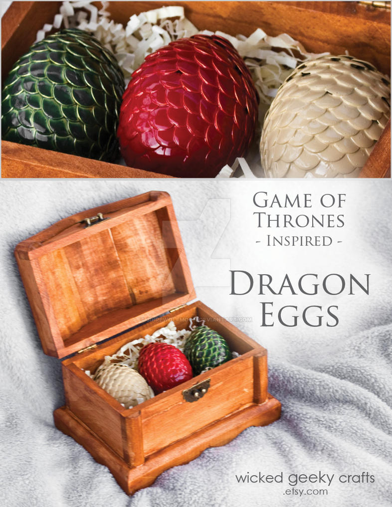 Daenerys Targaryen Inspired Dragon Eggs in Chest by 3direwolfmoon