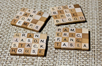 Upcycled True Blood Scrabble Coasters (Set of 4) by 3direwolfmoon