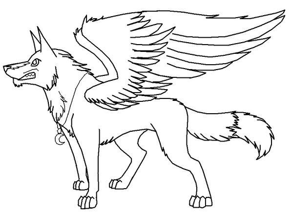 Line Art Winged Wolf by CorruptTempest on DeviantArt