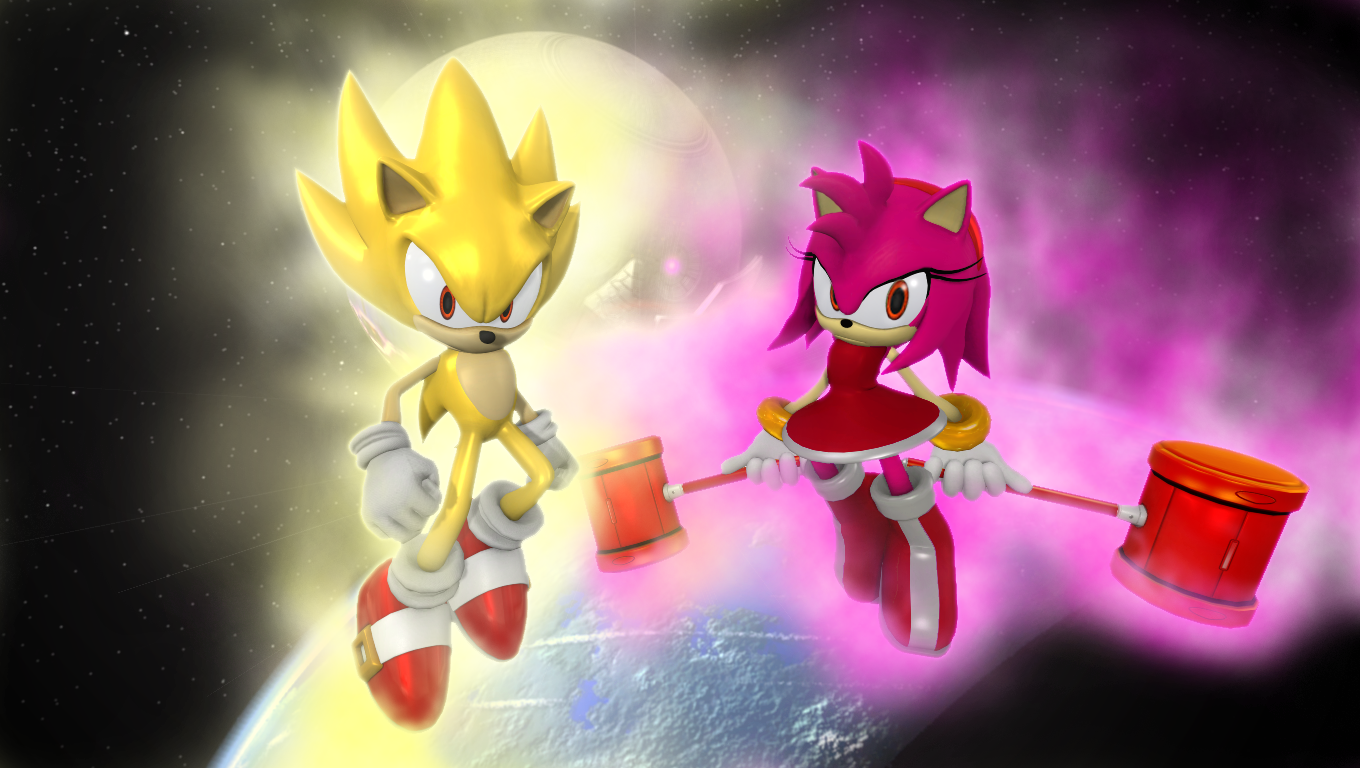 Super Sonic And Super Amy By Nictrain123 On Deviantart