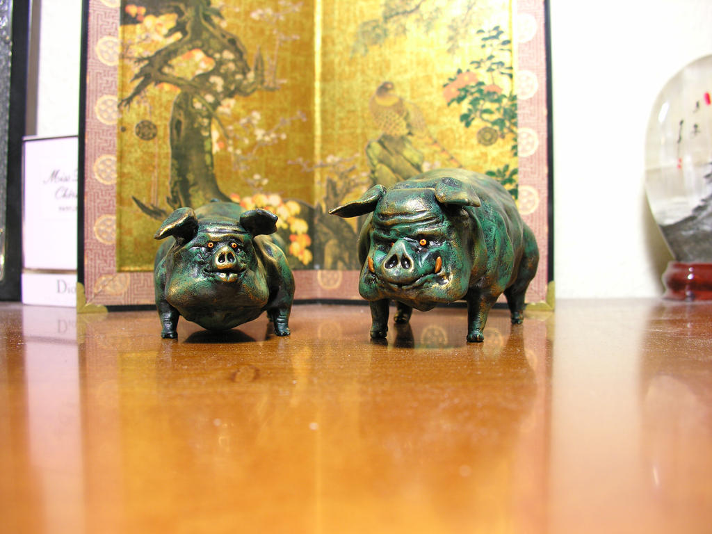 two long green little pigs by Santani