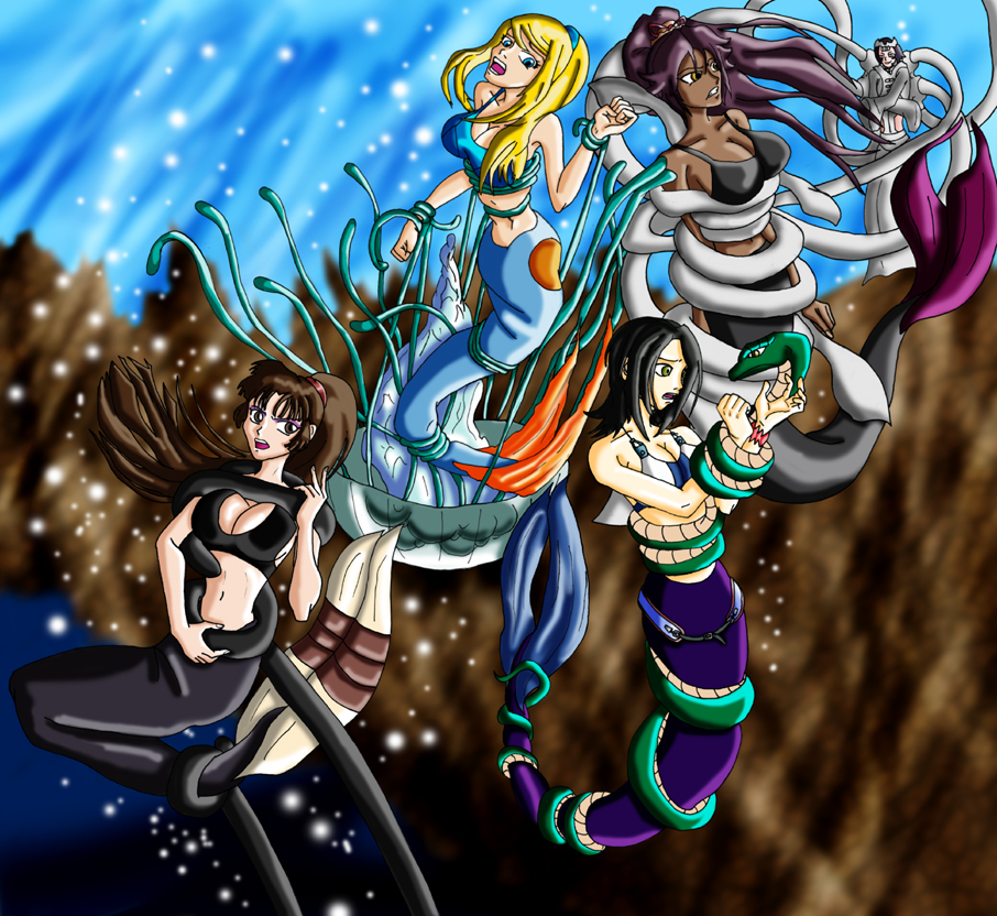 Mermaid group wrapped up by wing saber on deviantart