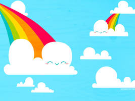 Clouds and Rainbows Wallpaper by bombthemoon