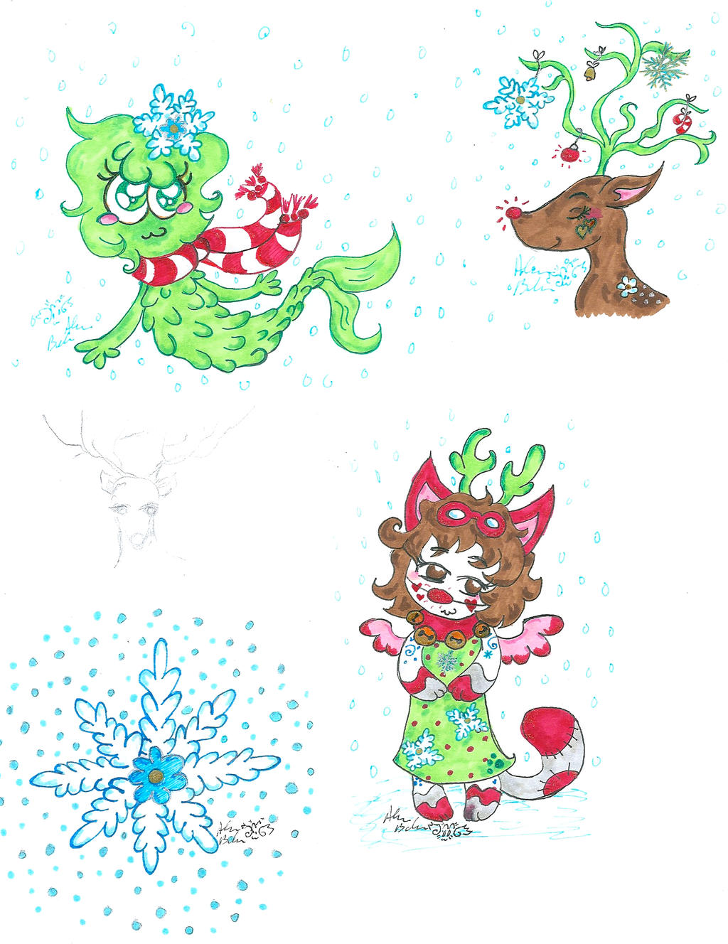 Christmas card ideas 2013 by kittychan2005 on deviantart for Christmas card drawing ideas