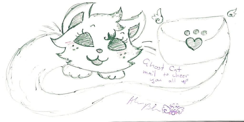 Cheer up Ghost cat message 4 you by Kittychan2005