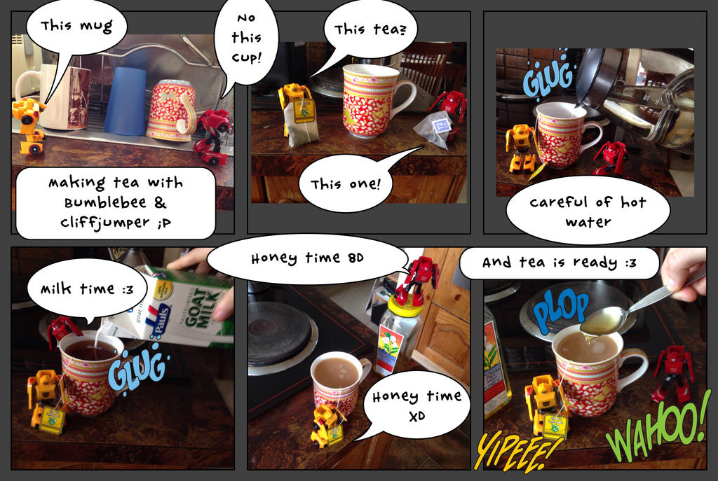 Making Tea with Cliffjumper  Bumblebee by Kittychan2005