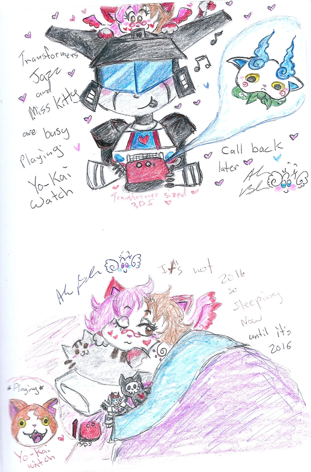 Too Busy Sleeping Or Playing Yokai Watch by Kittychan2005