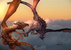 Dueling Dragons by shawnr22