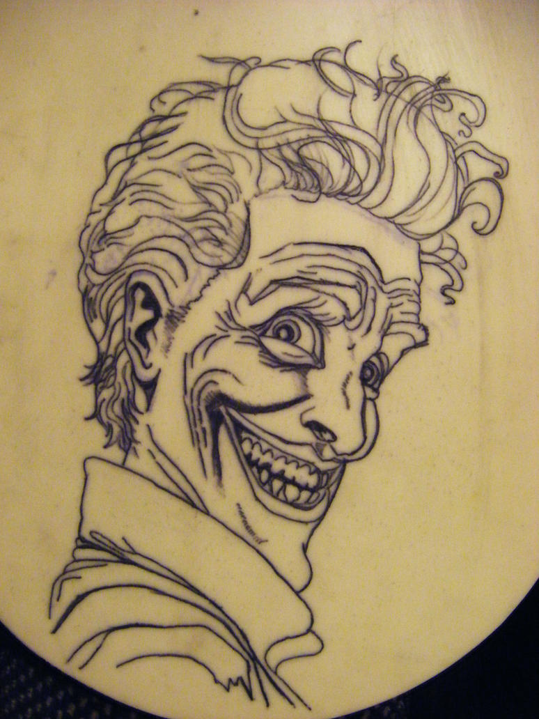 Practice tattoo of the joker on fake skin outline by for Practice skin for tattooing