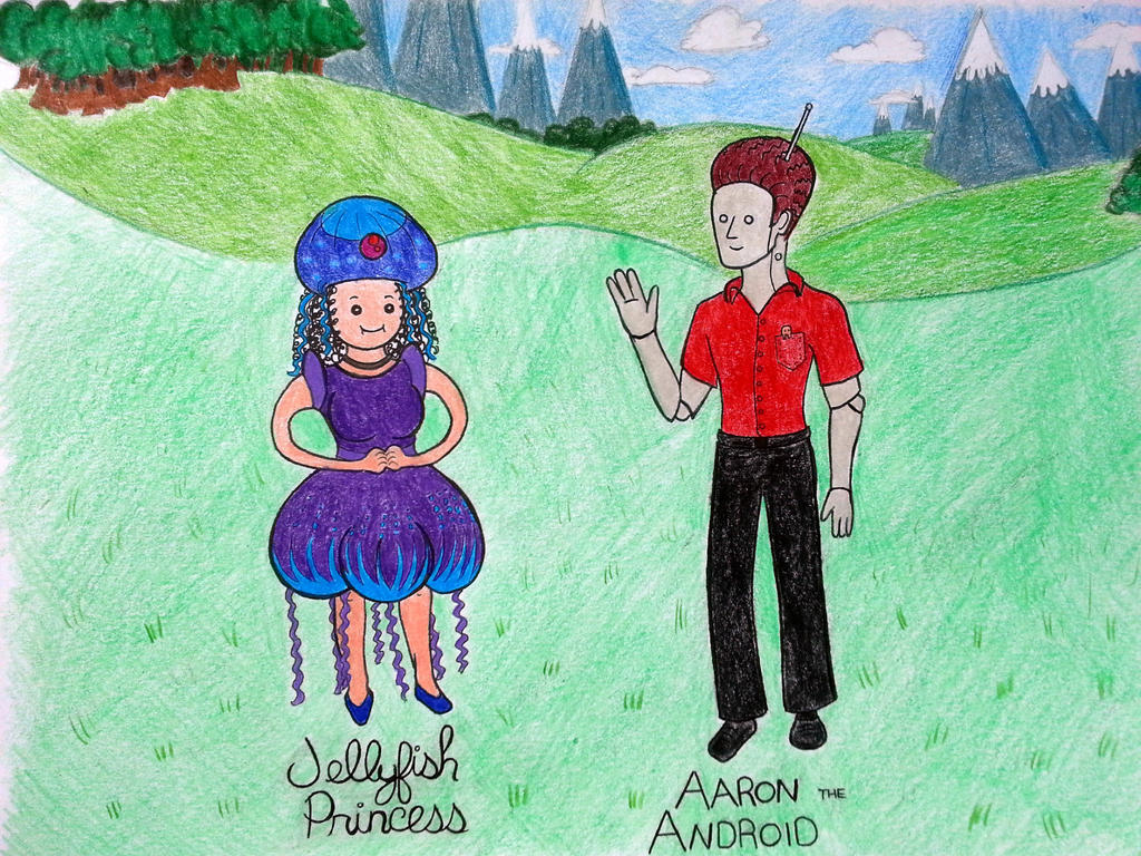 Jellyfish Princess and Aaron the Android by Sugar-Skull87