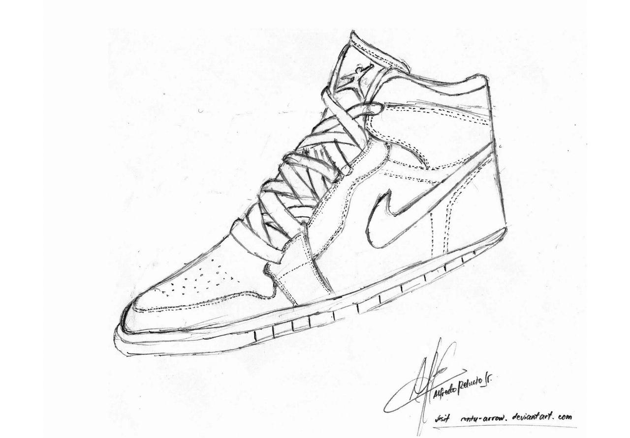 Detailed Nike Shoe Drawing