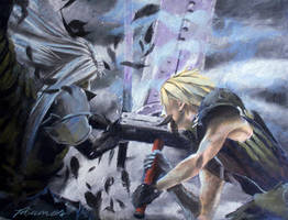 Cloud And Sephiroth Epic Clash by vikkidiamos
