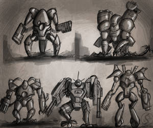 Mecha design thumbnails. by WackoShirow