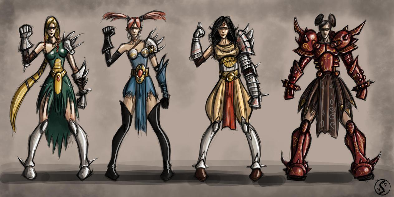 Character Design Thumbnails : Character armoured woman design thumbnails by wackoshirow