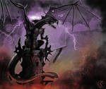 Black tower dragon by WackoShirow