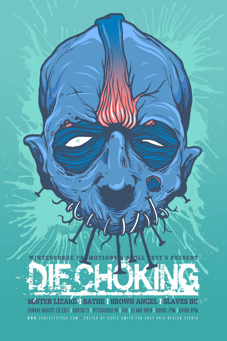 DIE CHOKING SKULL FEST POSTER