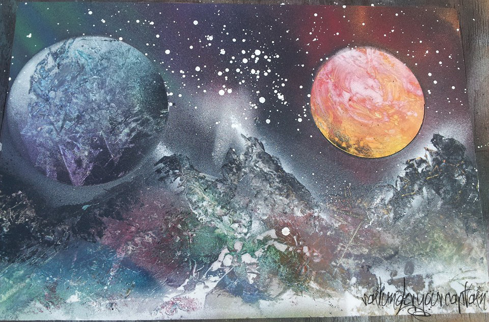 Rainbow Planets And Mountains Spray Paint Art By Sailunderyourcaptain On Deviantart