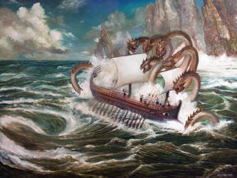 Odysseus and Scylla by PinkParasol