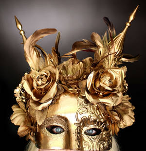 Gold Flower Masquerade Mask