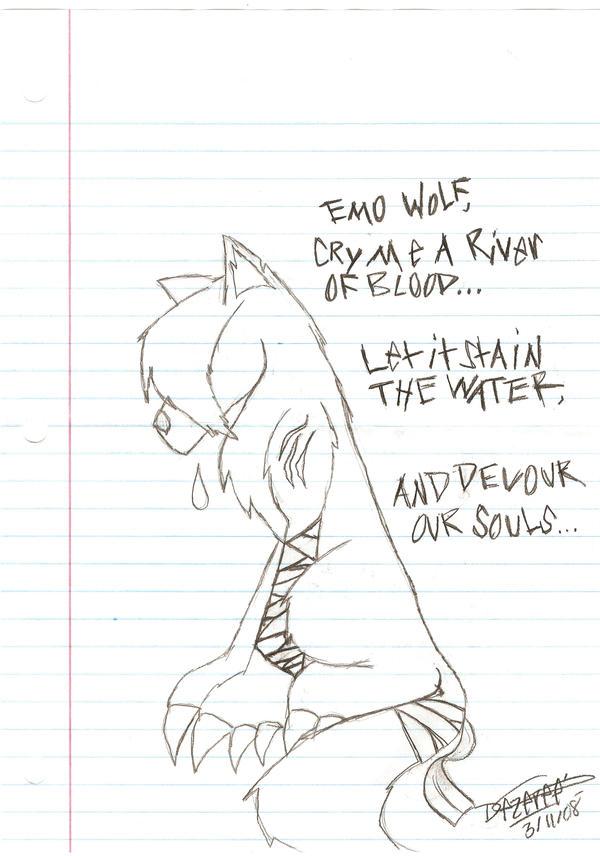 Depressed wolf drawing - photo#13