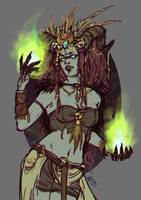 Priestess - sample sketch for commissions by eserioart