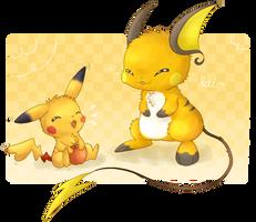 Pikachu and Raichu by KiwiBeagle