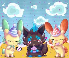 Zorua's birthday by KiwiBeagle