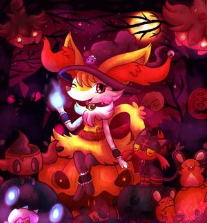 Witch Braixen in pumpkin forest
